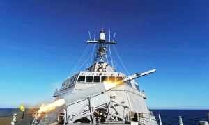 US Navy USS Gabrielle Giffords (LCS 10) Successfully Launches Naval Strike Missile (NSM)