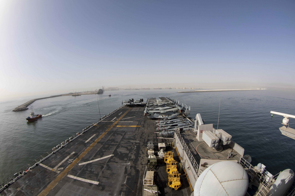 US Navy USS Makin Island and USS Somerset Conduct Port Visit in Oman