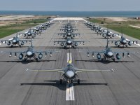 Japan Air Self-Defense Force 8th Squadron Conducts F2 'Elephant Walk'