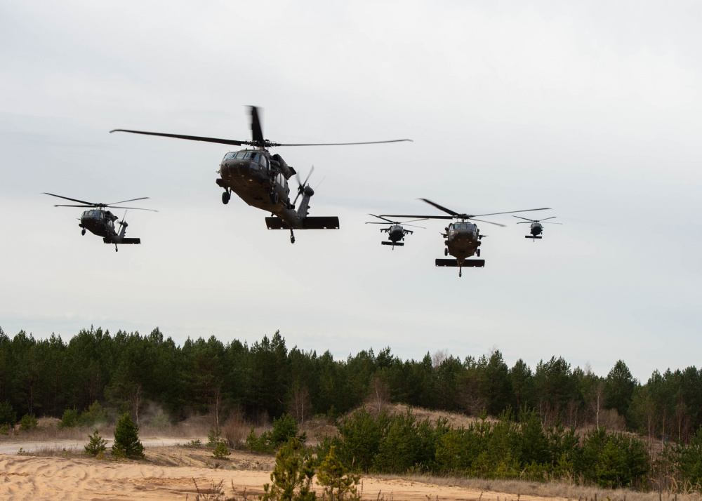 US Army 1st Combat Aviation Brigade and NATO eFP Battle Group-Latvia Conducts Joint Force Exercise