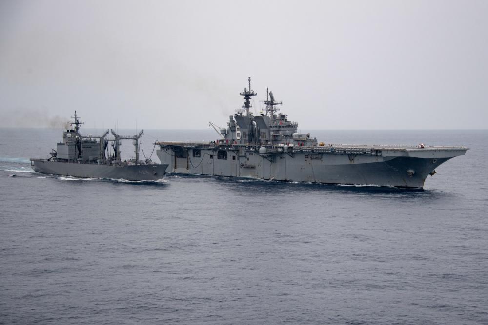 Japan Maritime Self-Defense Force JS Hamana Resupplies US Navy USS America at Sea