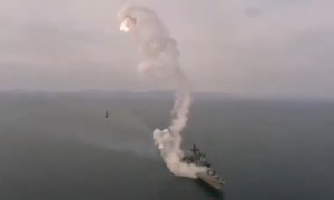 Russian Navy's Destroyer Marshal Shaposhnikov's Kalibr-NK Cruise Missile Test-fire