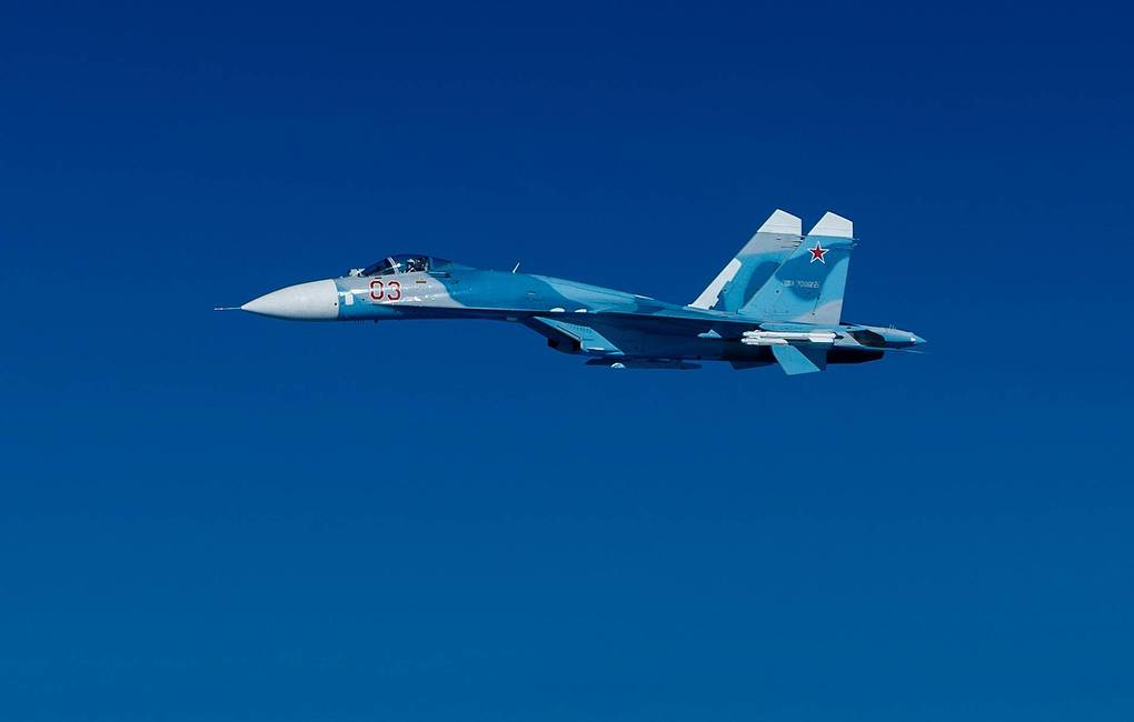 Russian Sukhoi Su-27 fighter jets escort aircraft carrying Defense Minister Shoigu over Baltic Sea