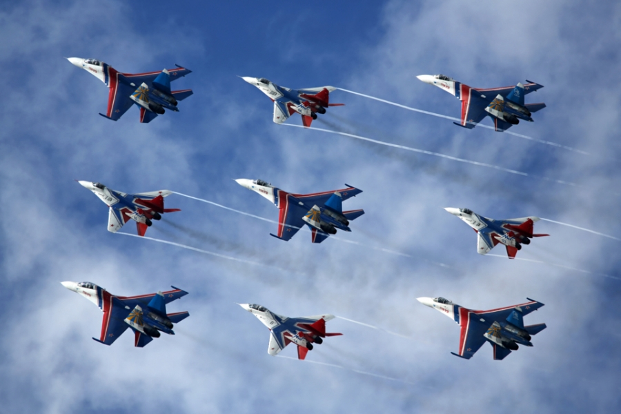 The Swifts and Russian Knights aerobatic teams