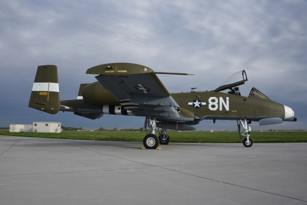 A U.S. Air Force A-10 Thunderbolt II from the Idaho Air National Guard's 124th Fighter Wing is painted with a heritage WWII paint scheme at the Air National Guard paint facility in Sioux City, Iowa.