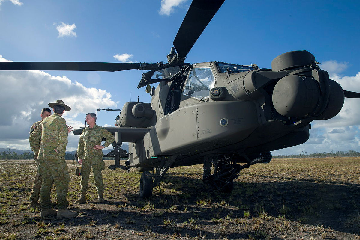 The US Army AH-64 Apache attack helicopter at the Shoalwater Bay Training Area.