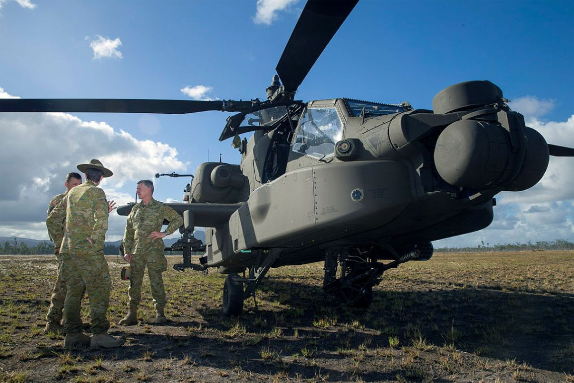 the AH-64 Apache attack helicopter at the Shoalwater Bay Training Area.