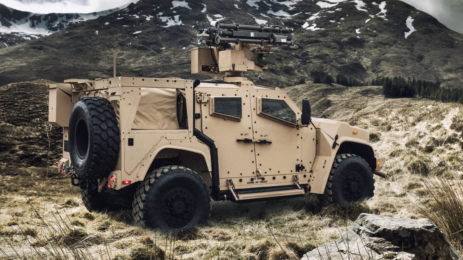 Joint Light Tactical Vehicle with XM914E1 Chain Guns and Stinger missile