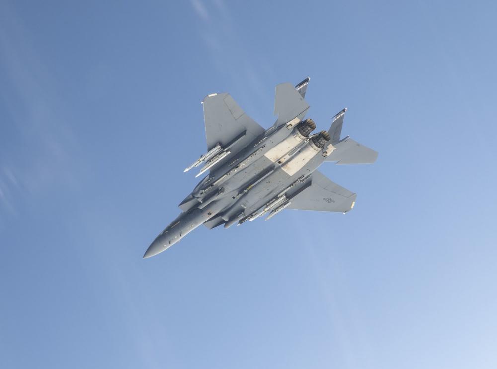 A F-15E Strike Eagle from the 40th Flight Test Squadron prepares to fire an advanced medium-range air-to-air missile near Eglin Air Force Base, Fla