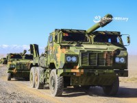 Chinese People's Liberation Army Deploys Howitzers in China's Gobi Desert