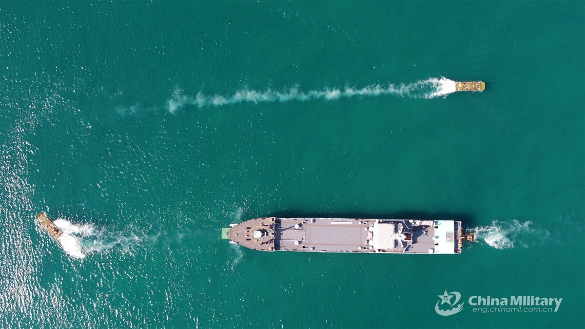 Chinese PLAN Conduct Coordination Training with ZTD-05 Amphibious Assault Vehicle