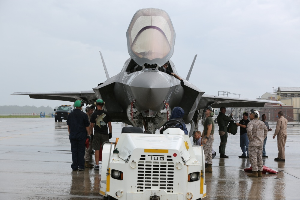 Cherry Point service members prepare an F-35B Lightning II for transportation to Fleet Readiness Center East for scheduled maintenance.