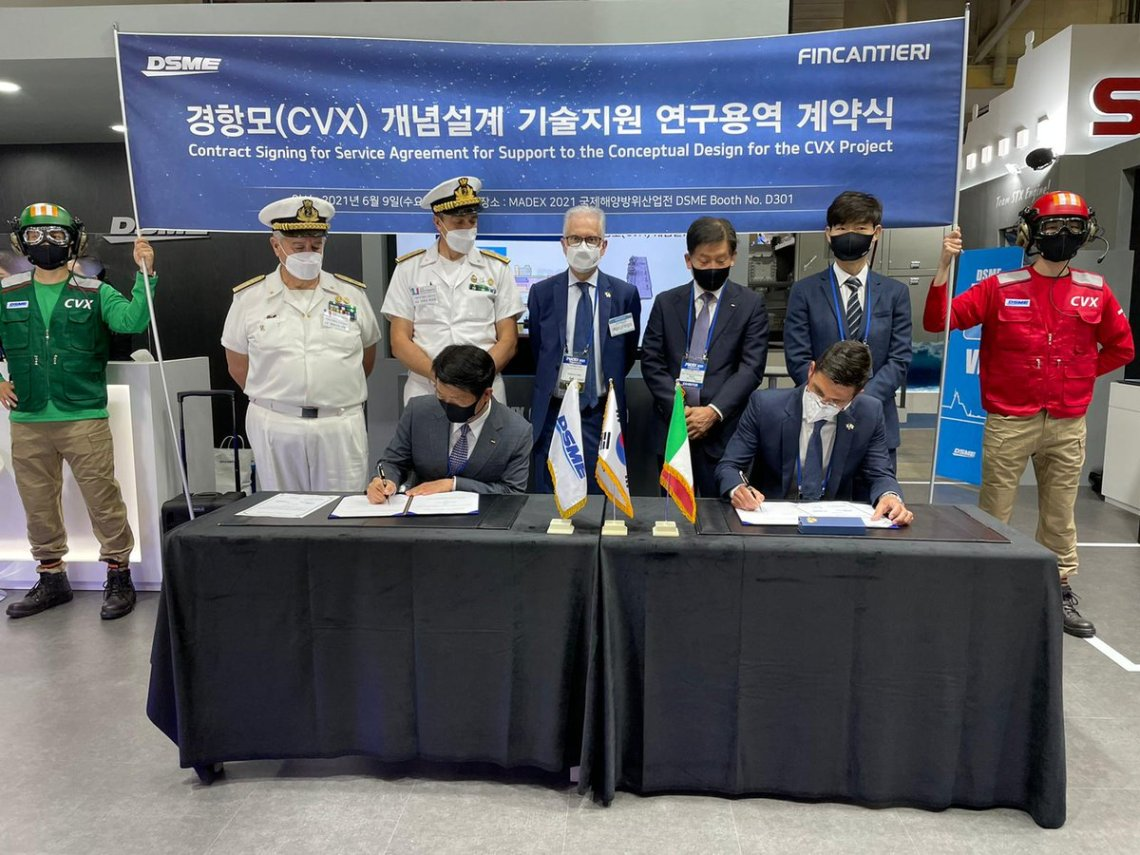 """During MADEX, Fincantieri has signed a contract with #Daewoo Shipbuilding & Marine Engineering (DSME) to support the Conceptual Design of the new class of aircraft carriers """"CVX"""" for the #Navy of the Republic of Korea (South Korea)."""