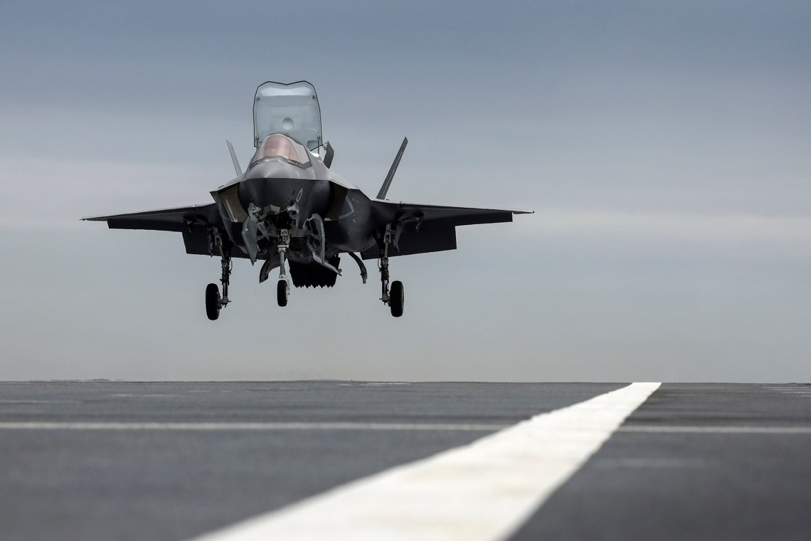 The F-35 prepares to touch down on the deck of HMS Prince of Wales for the first time