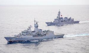 Royal Australian Navy HMAS Ballarat Trains with Japan Maritime Self-Defense Force Ship Murasame