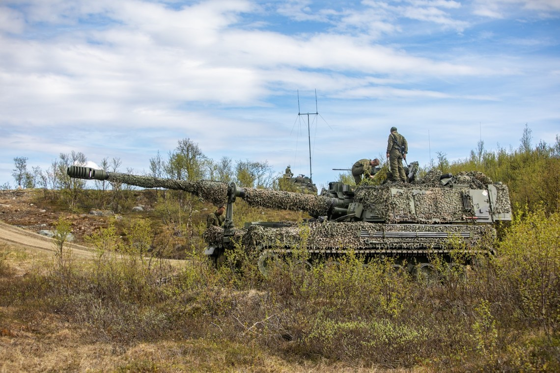 Norwegian Army K9 artillery system during live fire exersice Thunderbolt.
