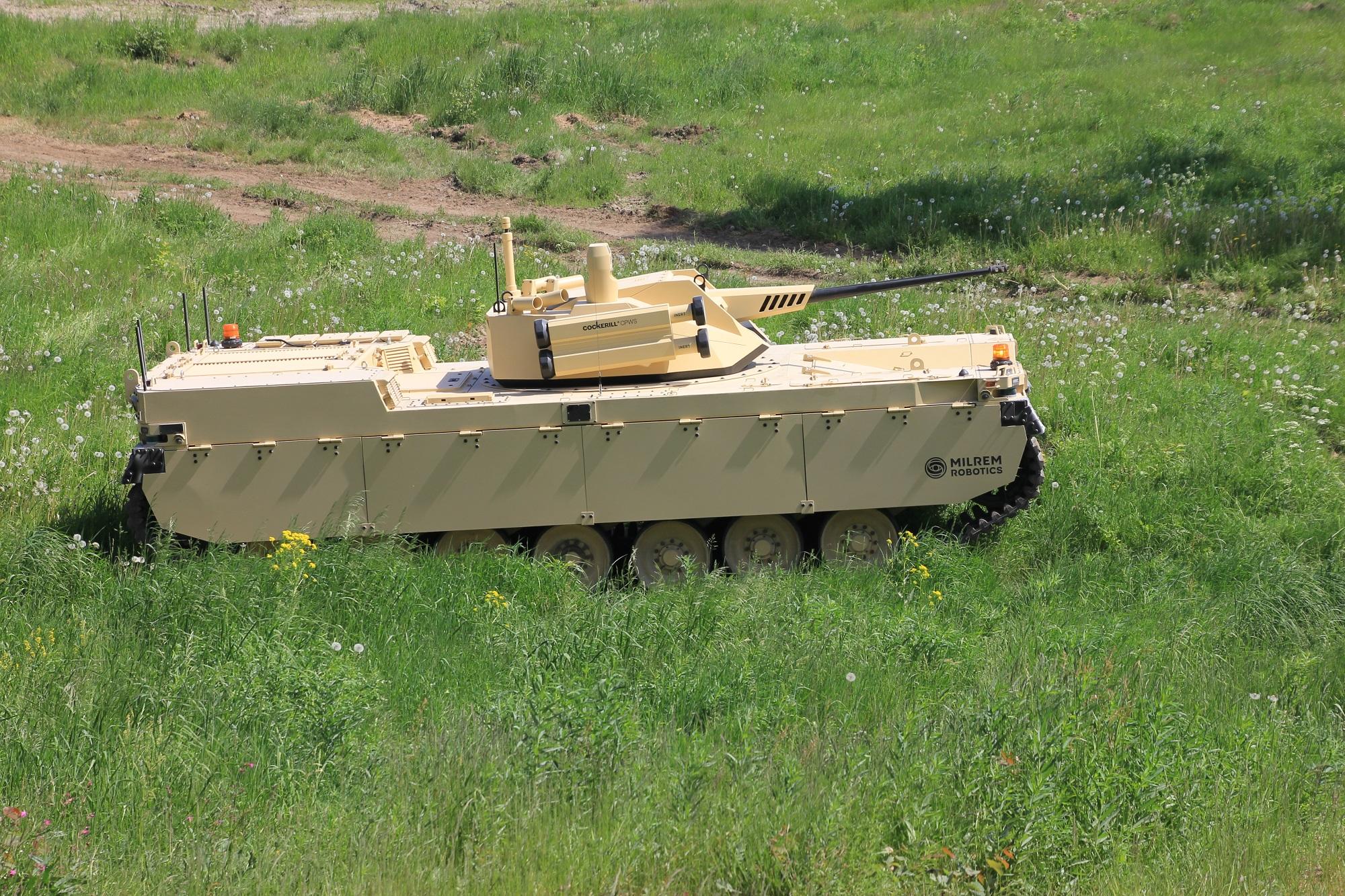 Milrem Robotics Type-X Robotic Combat Vehicle with the CPWS II turret by John Cockerill