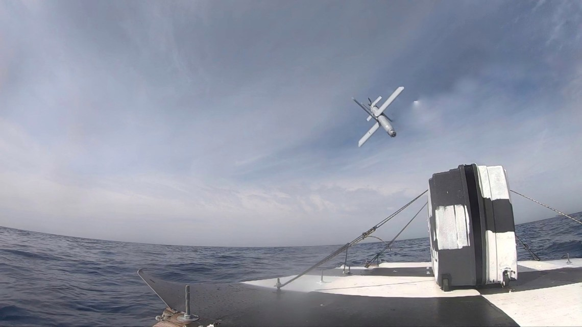 Mistral tests UVision's Hero 120 sea-to-sea capabilities.