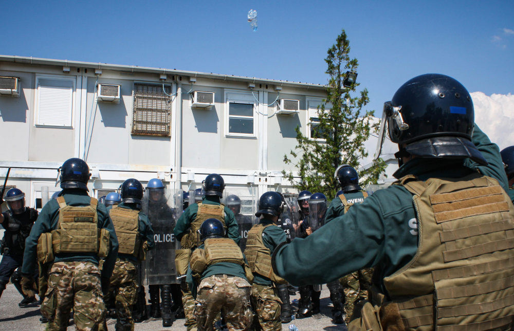 Slovenian Armed Forces soldiers clash with Kosovo Police officers during Operation Swift Rescue at the Gjakova/Gjakovë Airfield in Kosovo on June 10, 2021.
