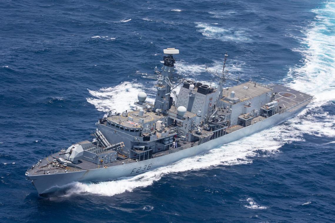 Royal Navy HMS Montrose (F236) Frigate cuts through the Gulf of Oman