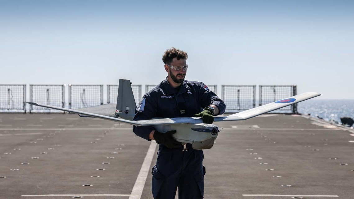 700X Naval Air Squadron deploy the Puma unmanned aircraft from the flightdeck of HMS Albion during opperations in the Baltic sea