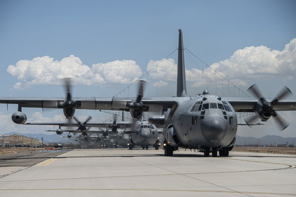 US Air Force EC-130H Compass Call Electronic Warfare Aircrafts Conducts Elephant Walk