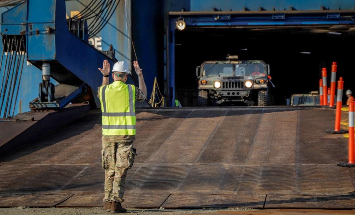81st Stryker Bde Combat Team offloading equipment in Esbjerk, Denmark / Photo by Lars Skjoldan