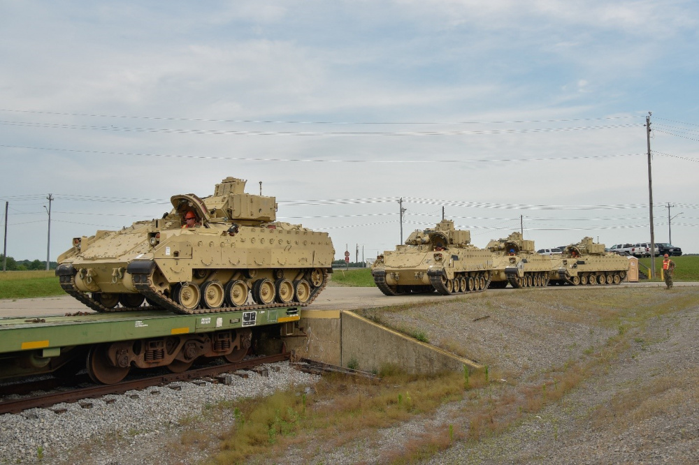 US National Guard Conducts Railhead operations at Fort Campbell
