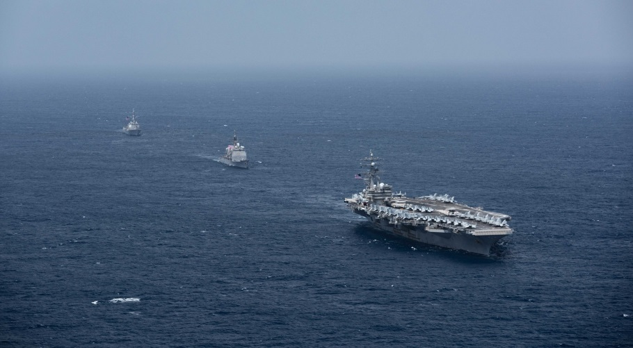 The Ronald Reagan Carrier Strike Group steams in the Indian Ocean. The U.S. Navy's only forward-deployed aircraft carrier, USS Ronald Reagan (CVN 76), the flagship of Carrier Strike Group 5, along with USS Shiloh (CG 67) and USS Halsey (DDG 97) provide a combat-ready force that protects and defends the United States, as well as the collective maritime interests of its allies and partners in the Indo-Pacific region.