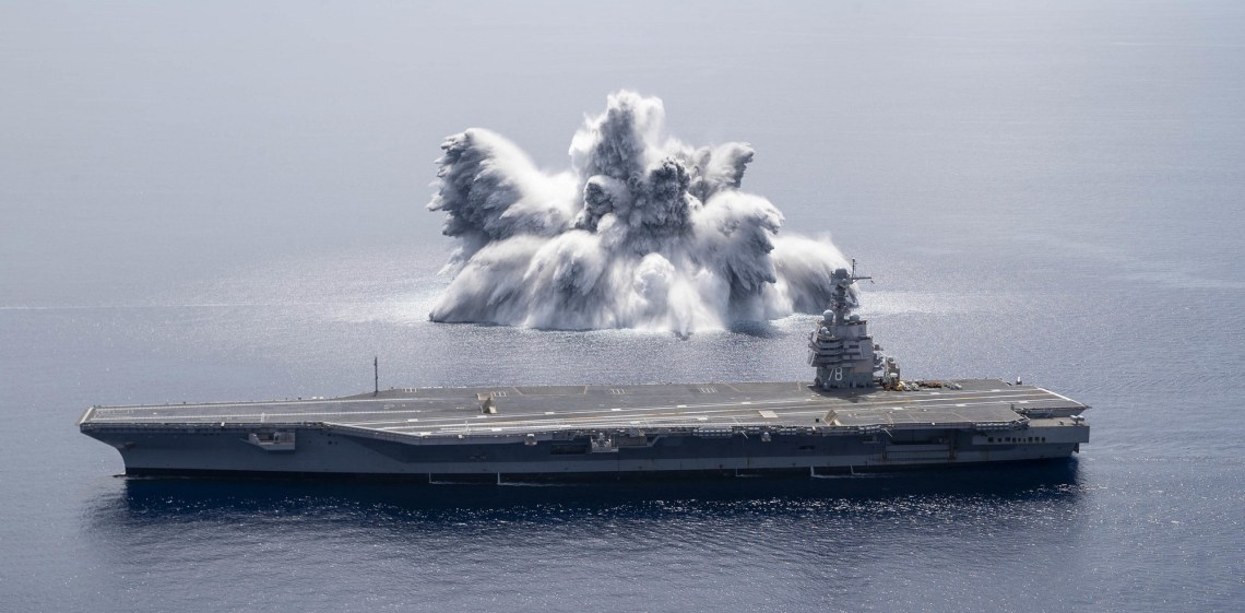 Explosive shock trials with #carrier USS GERALD R FORD CVN78 began 8 June a bit over 100 miles off the northeast Florida coast