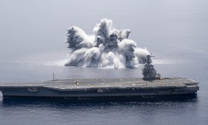 US Navy USS Gerald R. Ford (CVN 78) Completes First Full Ship Shock Trial Event