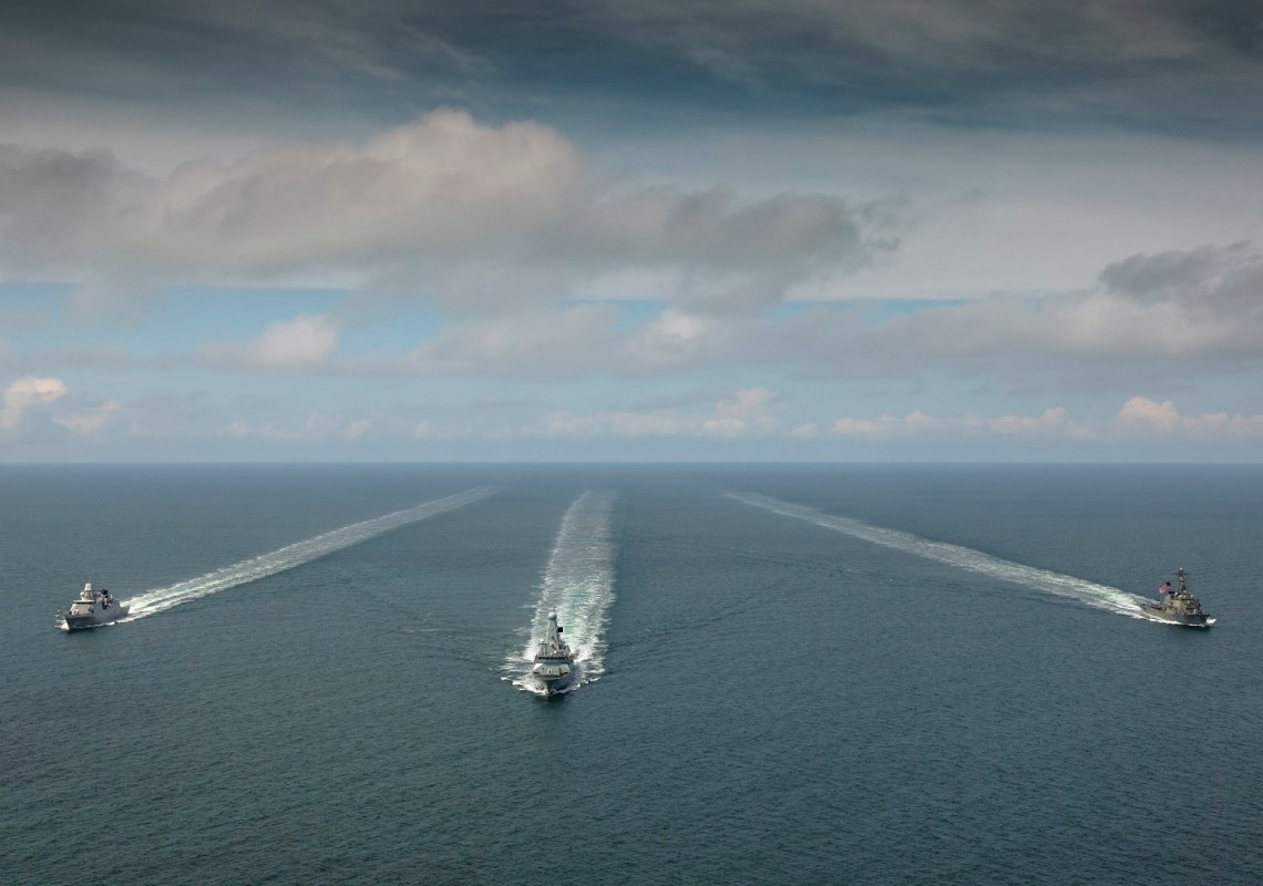 US Navy USS Laboon Conducts PASSEX with Royal Navy HMS Defender and Royal Netherlands Navy HNLMS Evertsen