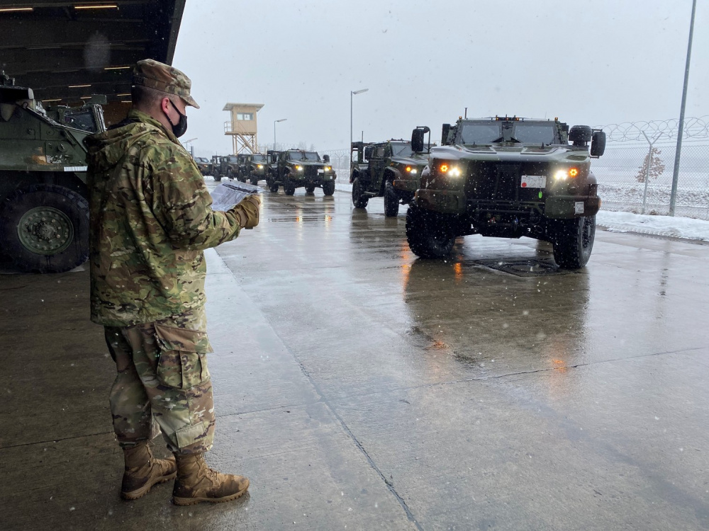 U.S. Army Soldiers assigned to the 2d Cavalry Regiment (2CR) receive the Joint Light Tactical Vehicle (JLTV) at Rose Barracks, Germany, on Jan. 30, 2021.