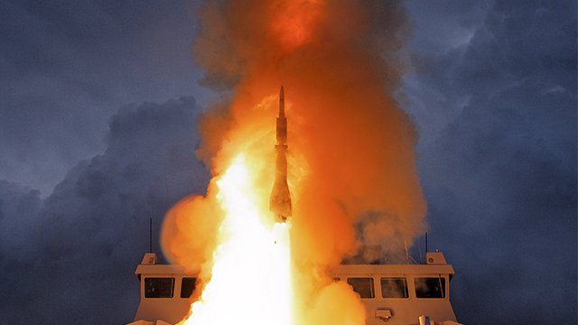 Aster 30 PAAMS missile firing from Frigate