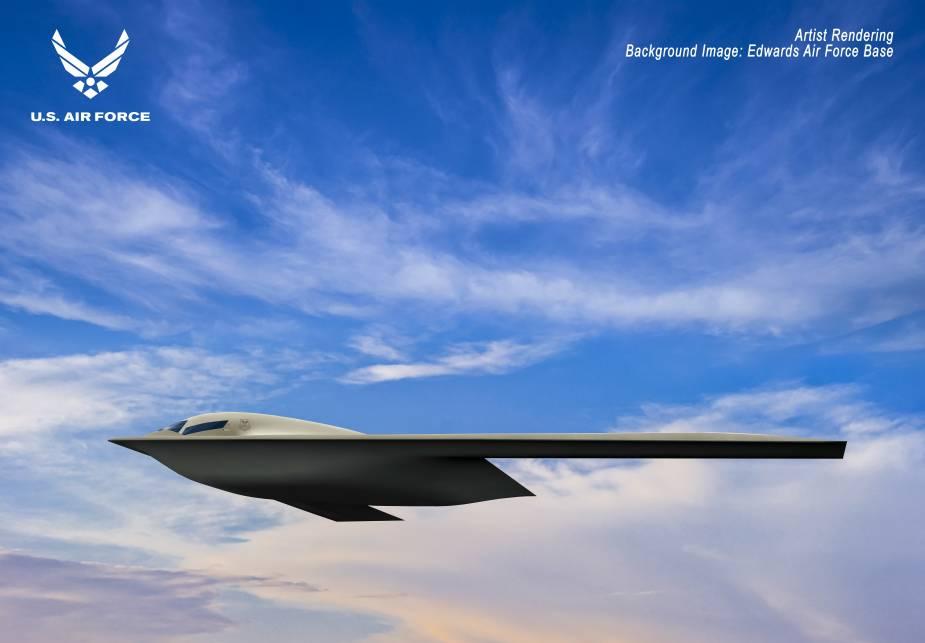 Shown is a Northrop Grumman B-21 Raider artist rendering graphic.