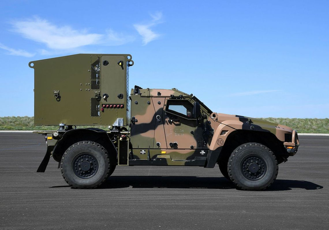 An Australian Army Protected Mobility Vehicle – Light fitted with a CEA Technologies Tactical Sensor during LAND 19 Phase 7B Risk Mitigation Activities at Accredited Monegeetta, Victoria