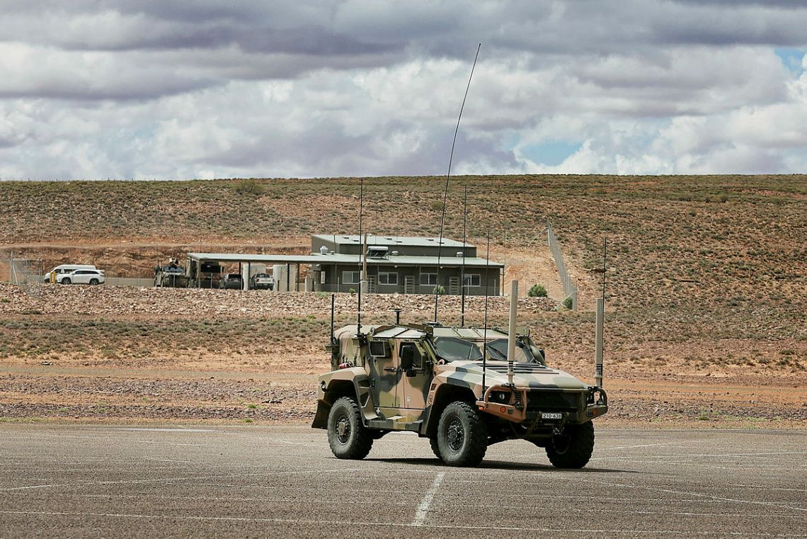 An Australian Army Thales Hawkei protected mobility vehicle - light takes part in the Protected Mobility Integration and Capability Assurance program testing at a purpose-built facility near Woomera in South Australia.