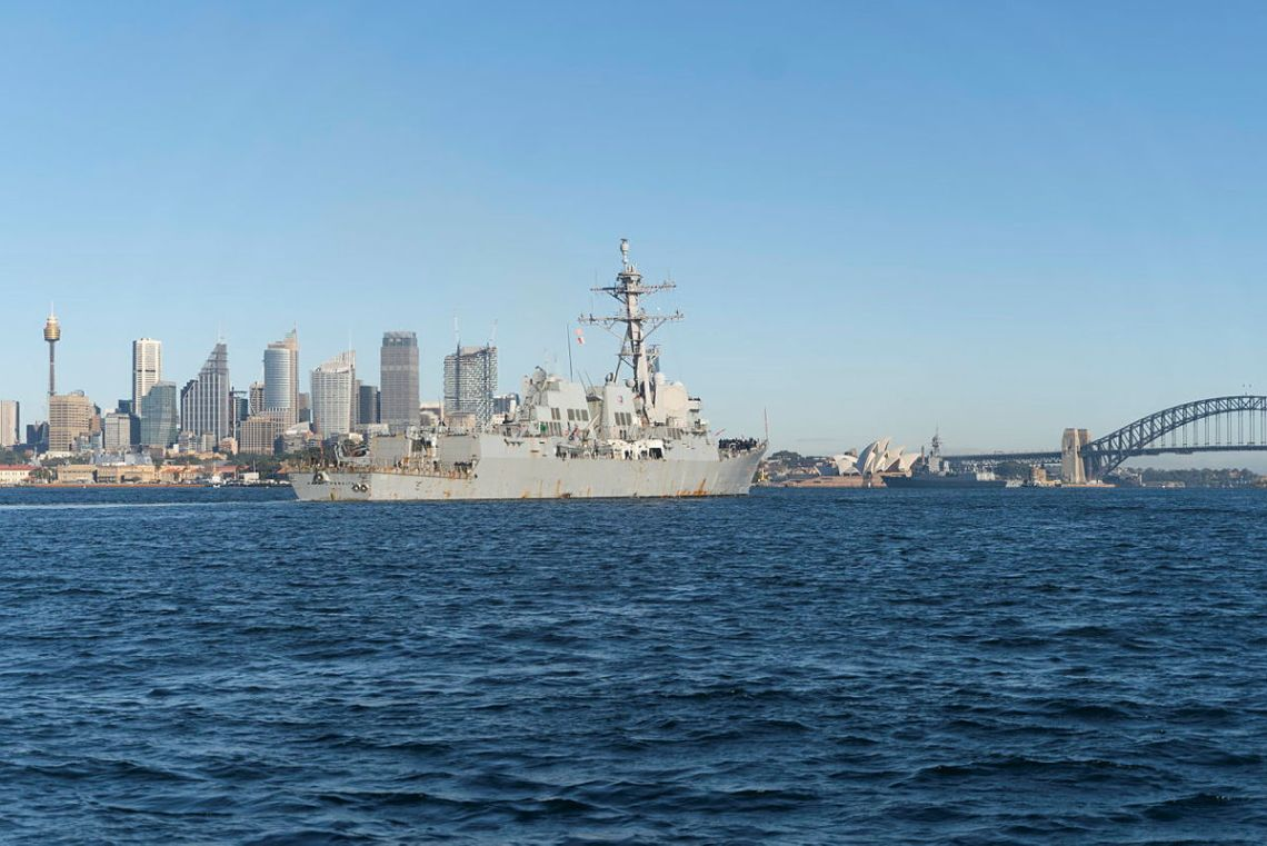 United States Navy destroyer USS Rafael Peralta enters Sydney Harbour for a COVID-Safe port visit ahead of Exercise PACIFIC VANGUARD.