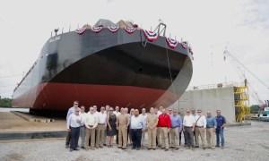 Bollinger Shipyards Christens Ocean Transport Barge Holland for General Dynamics Electric Boat