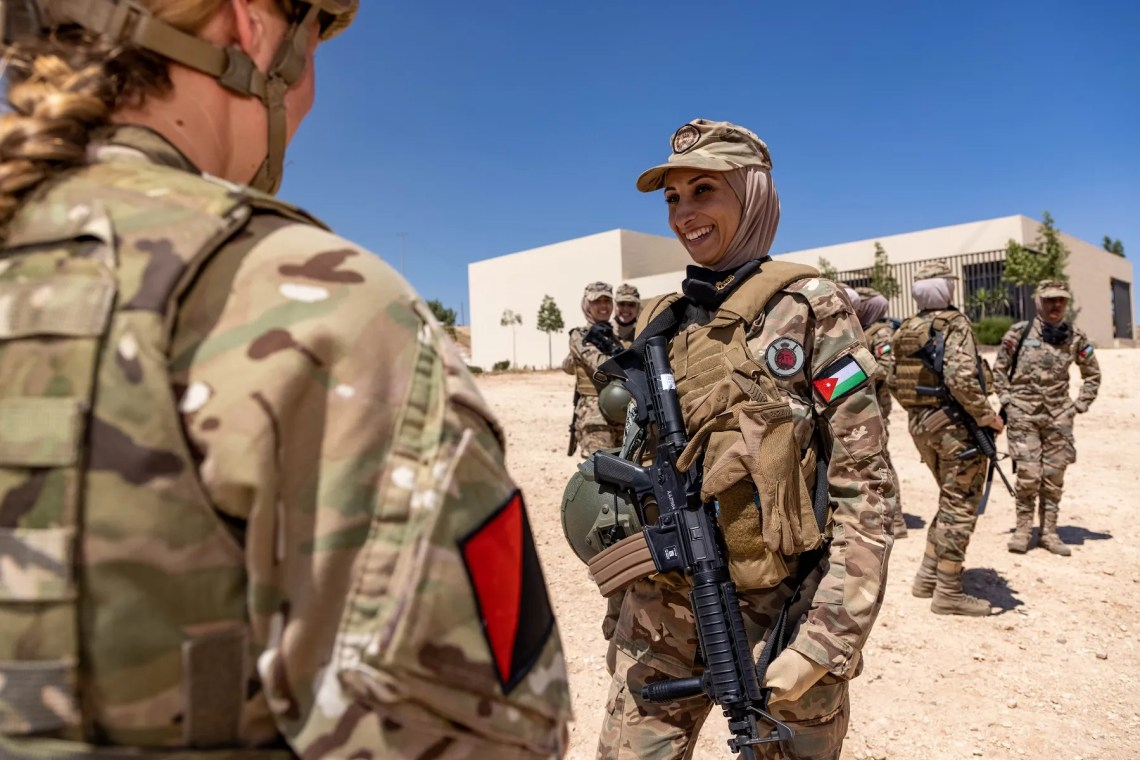 After working with their Jordanian counterparts last week, the British Troops moved south, passing the Dead Sea to link up with their counterparts from the USMC near Aqaba.