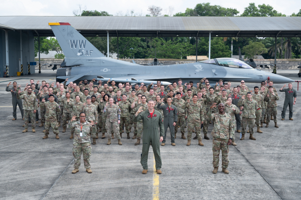 U.S. Air Force Airmen pose for a group photo during Cope West 21 at Roesmin Nurjadin Air Force Base in Pekanbaru, Riau, Indonesia, June 25, 2021.