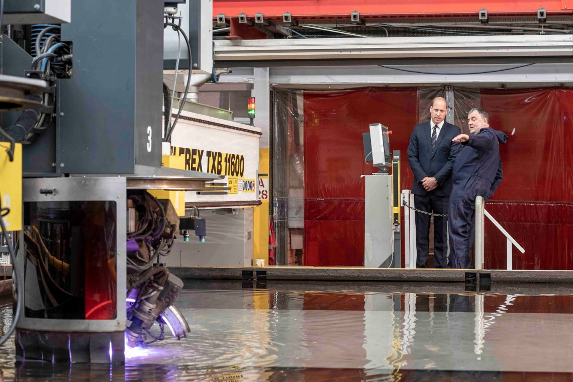 HRH Prince William cut the steel on the new Royal Navy Third Type 26 Frigate HMS Belfast on Tuesday