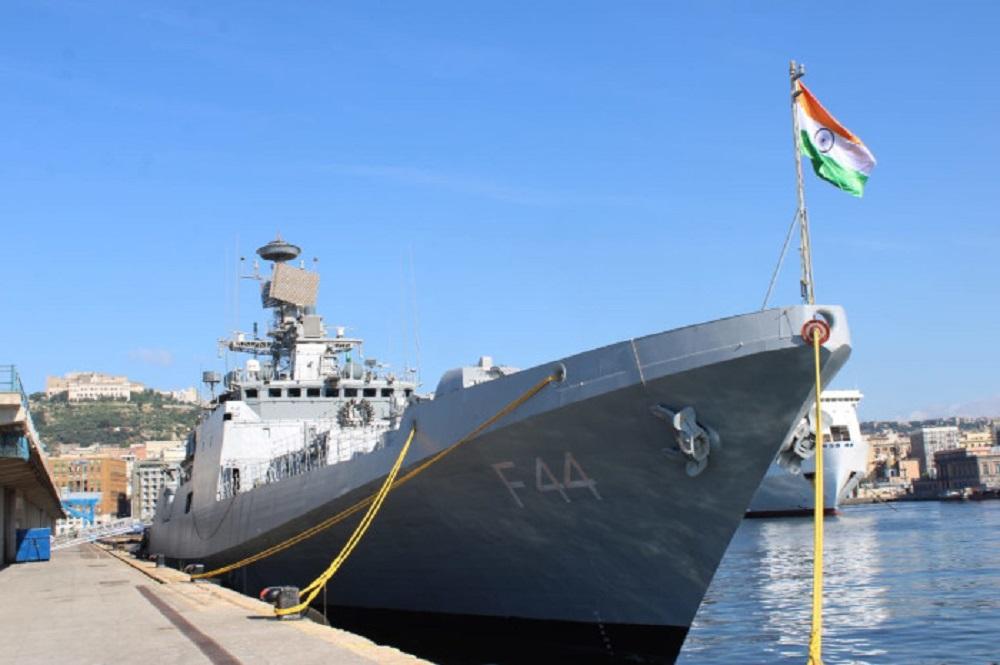 Indian Navy INS Tabar Exercises with Italian Navy ITS Antonio Marceglia Off Naples, Italy