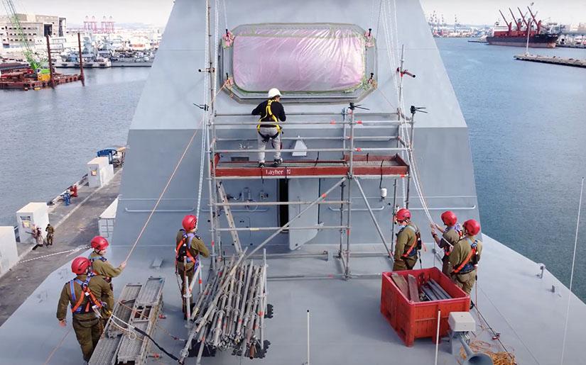 Israel Aerospace Industries (IAI) MF-STAR radar system installed on a Sa'ar 6 corvette
