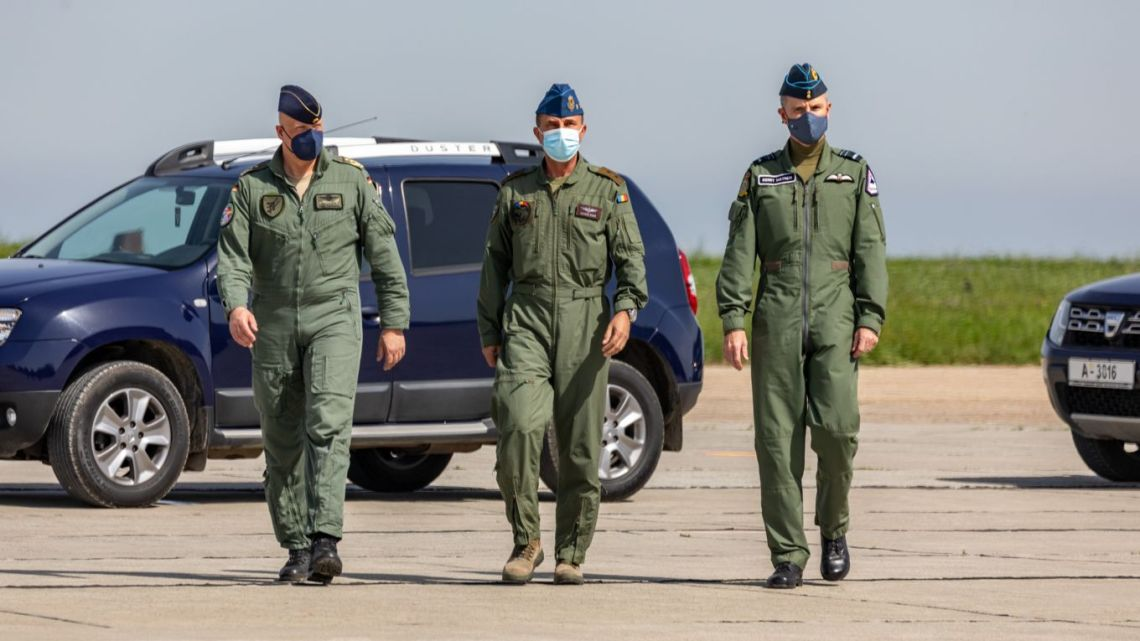 Image shows (L-R) the Inspector of the German Air Force, Lieutenant General Ingo Gerhartz, the Chief of the Romanian Air Force, Major General Viorel Pana, and Deputy Commander: Operations, Air Marshal Gerry Mayhew arriving at the parade to mark the signing of the Statement on future interoperability and combined Air Policing.