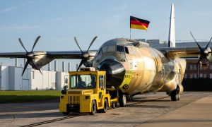 Lockheed Martin Rollout of the German Air Force C-130J Super Hercules Military Transport
