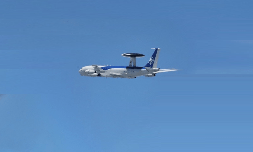 A NATO AWACS aircraft  from Geilenkirchen, Germany, supported the training activity by providing airborne control of the fighter activity. Photo by Bogdan Pantilimon.