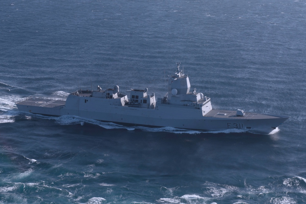 The Royal Norwegian Navy frigate HNoMS Roald Amundsen (F 311) transits the Atlantic Ocean while conducting its composite training unit exercise (COMPTUEX).