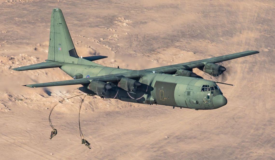 Royal Air Force C-130J Hercules Demonstrate UK Air Power During Exercise over Jordan