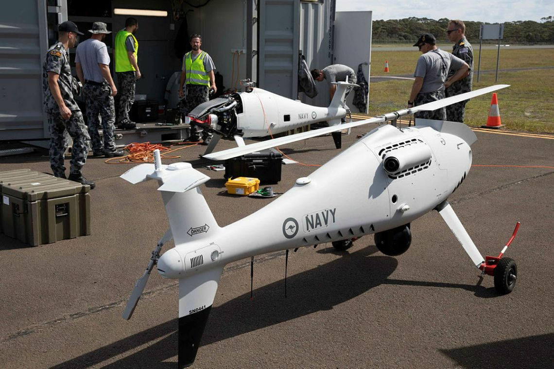Royal Australian Navy Fleet Air Arm 822X Squadron operating Schiebel S-100 Camcopters Unmanned Aircraft System from Jervis Bay airfield.